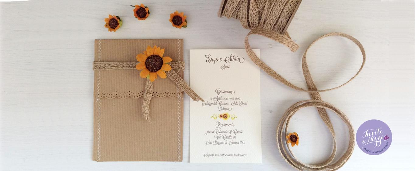 Inviti Matrimonio Girasoli : Partecipazioni matrimonio girasole cata imballaggio