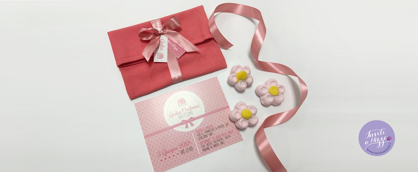 invito battesimo pochette rosa