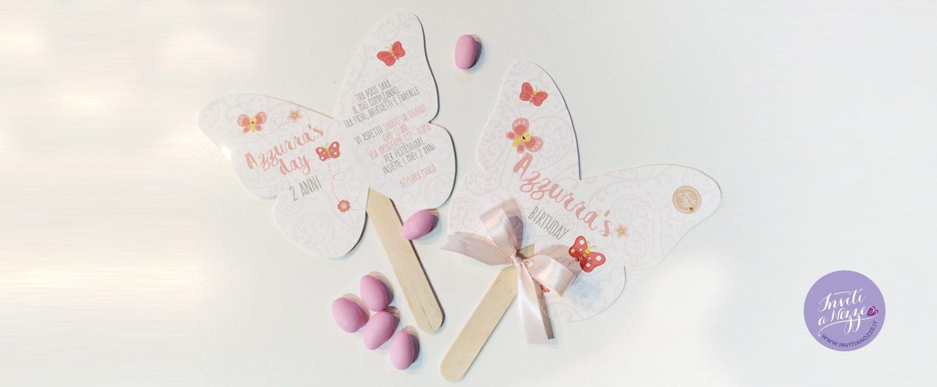 invito compleanno farfalla su stecca