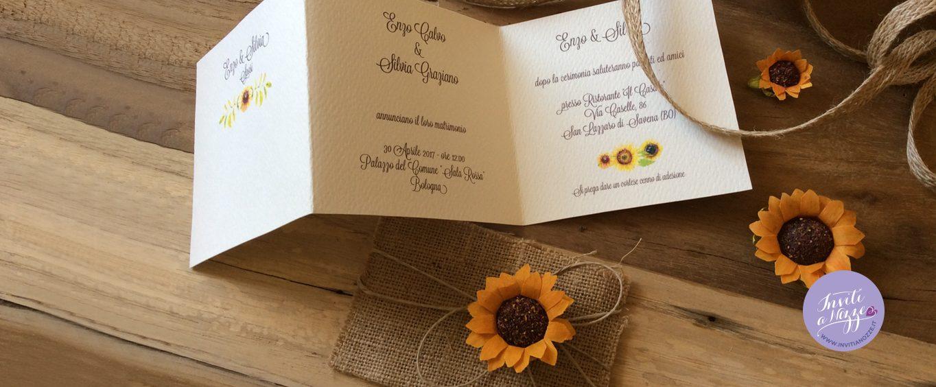 Partecipazione Matrimonio Girasoli : Partecipazione nozze girasoli e juta inviti a