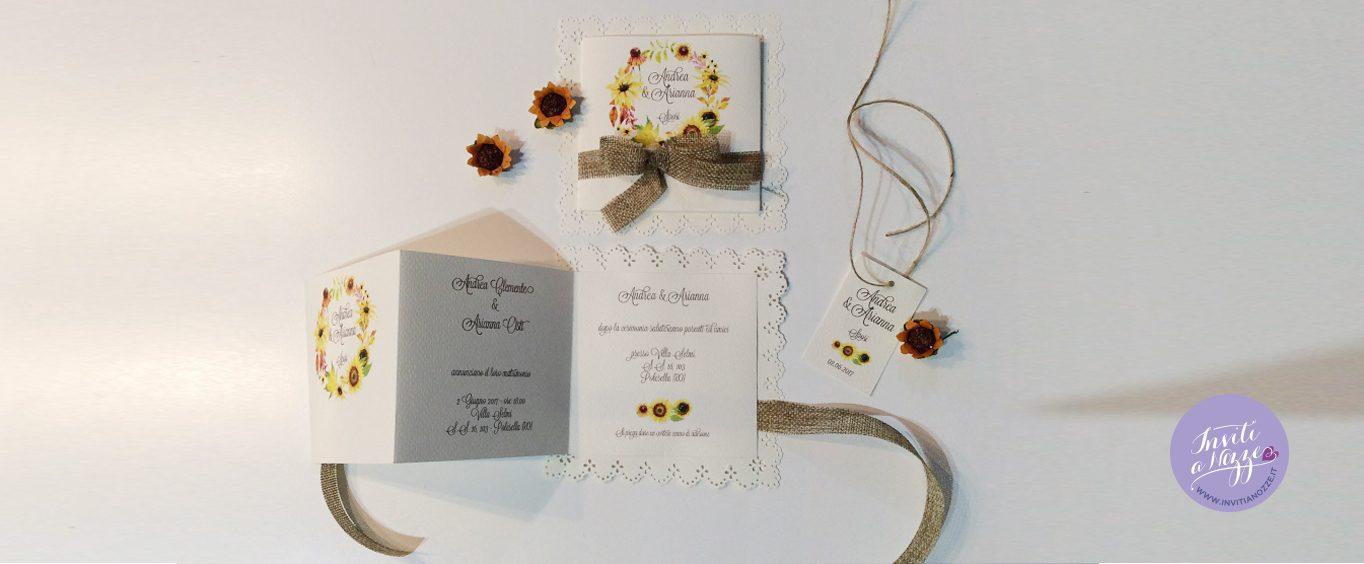 Inviti Matrimonio Girasoli : Partecipazione matrimonio rustico chic girasoli merletto
