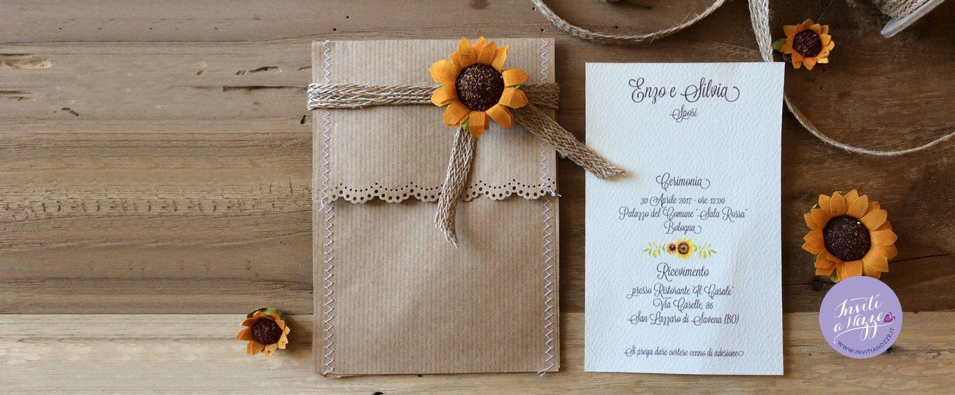 partecipazione nozze girasoli rustica