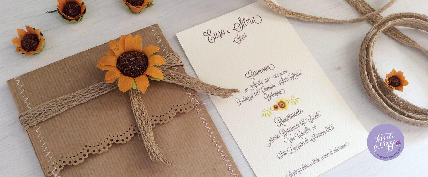 Partecipazione Matrimonio Girasoli : Partecipazione nozze girasoli rustica inviti a