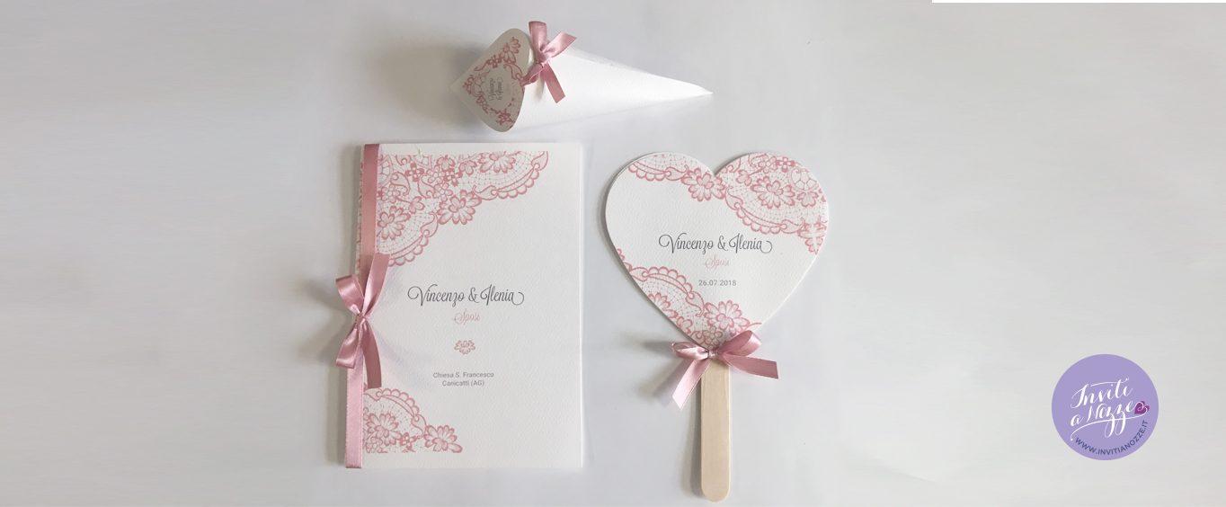 coordinato matrimonio merletto rosa