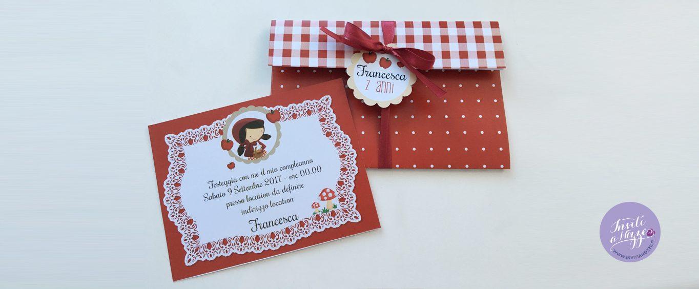Invito compleanno cappuccetto rosso pochette