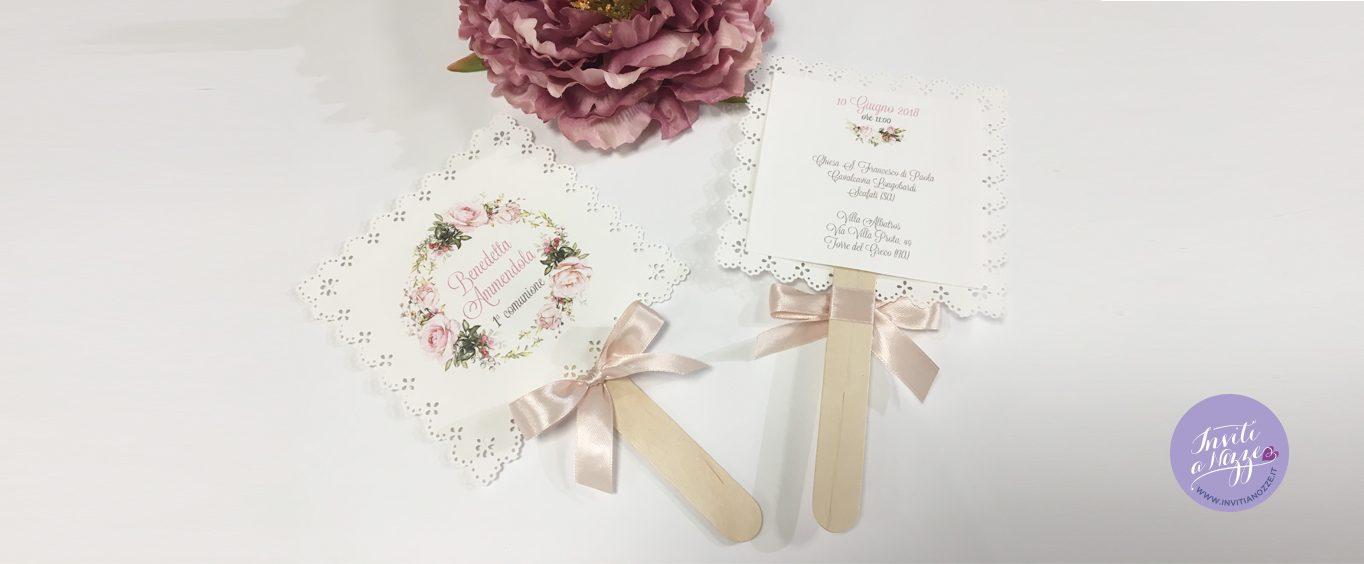 Invito Prima Comunione rose pastello