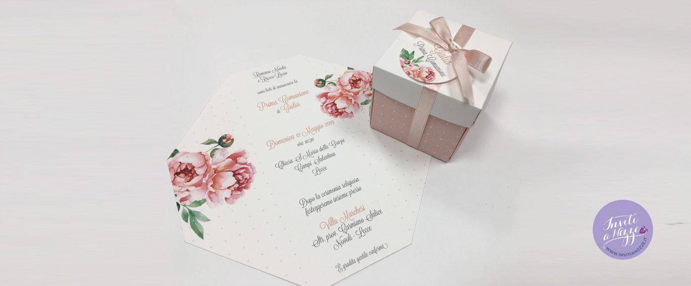 Invito comunione scatolina romantica