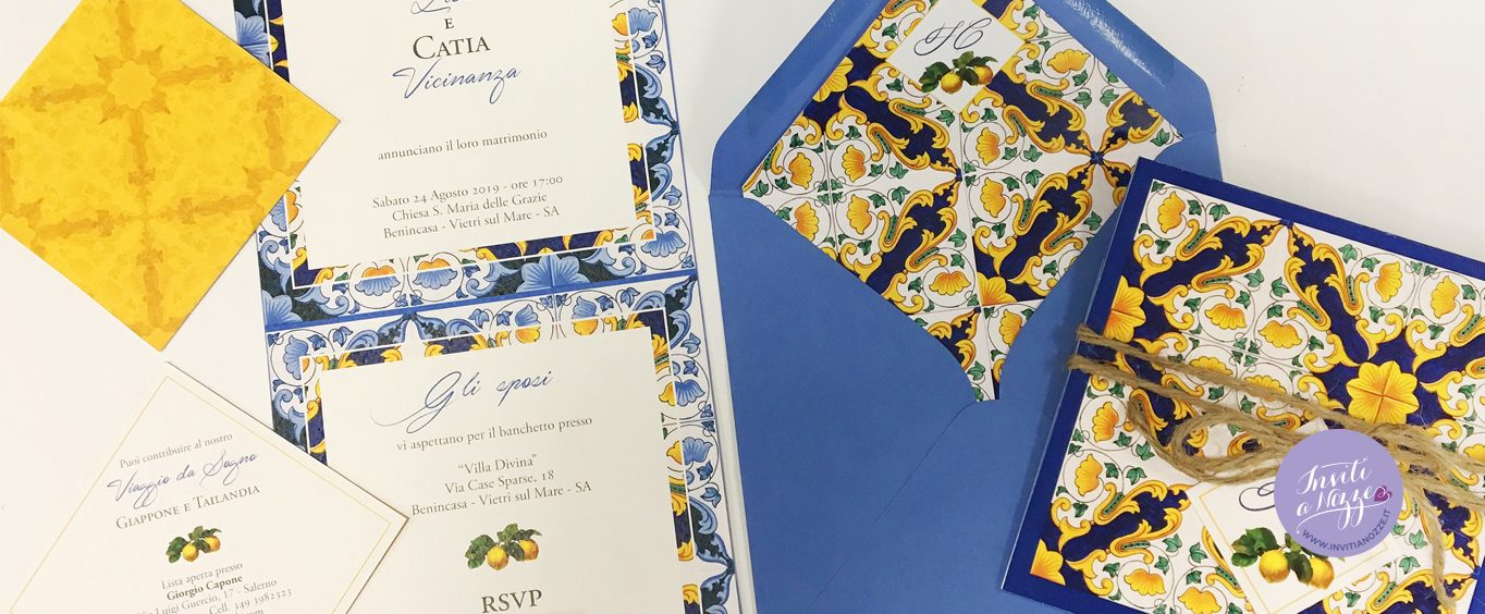 Partecipazione Amalfi Coast mattonella Vietrese