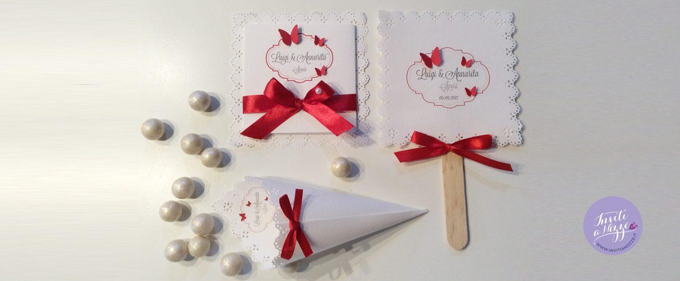 Partecipazione di matrimonio farfalle rosse
