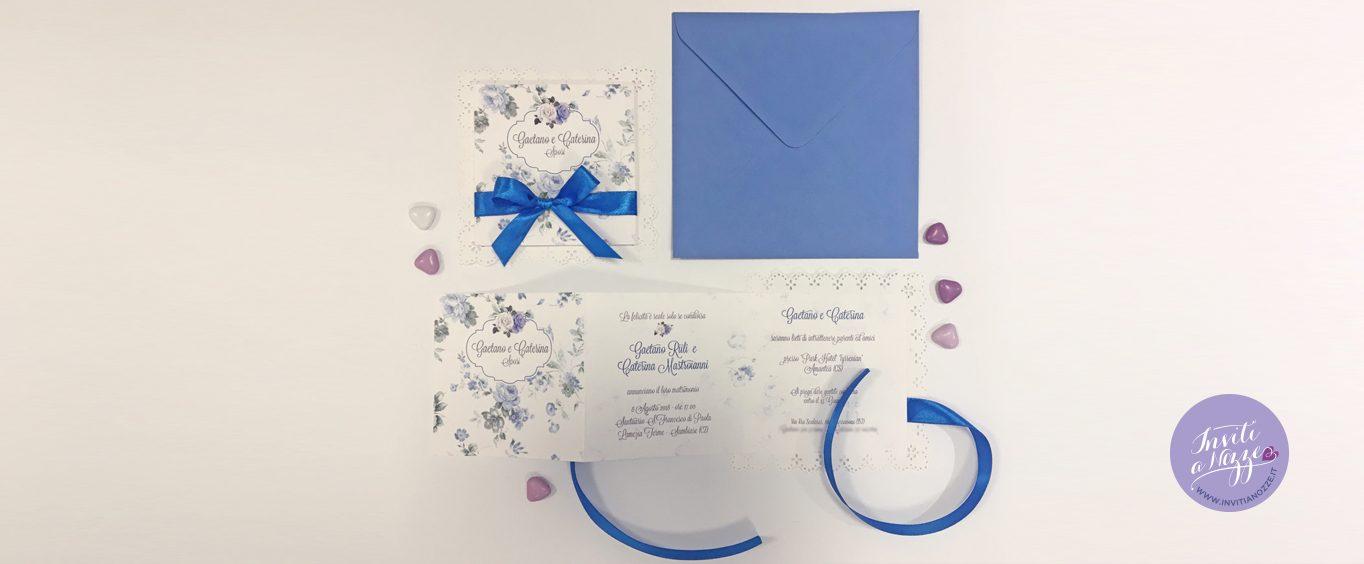 Partecipazione matrimonio fiori blu