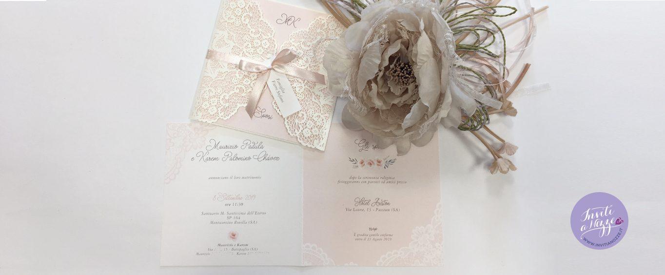 partecipazione matrimonio laser cut cipria