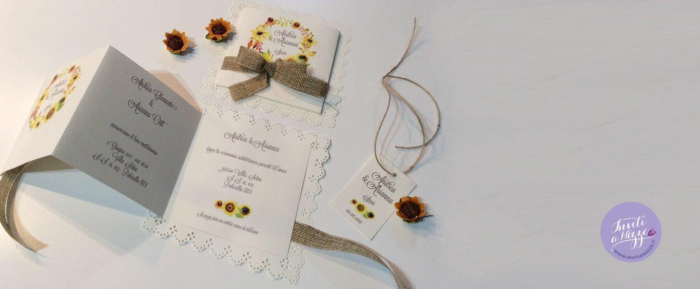 Partecipazione Matrimonio Girasoli : Partecipazione matrimonio rustico chic girasoli merletto