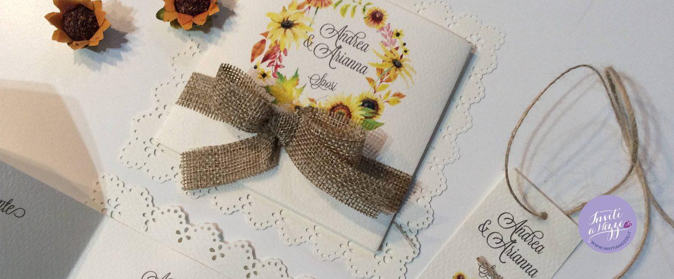 partecipazione matrimonio rustico chic girasoli merletto