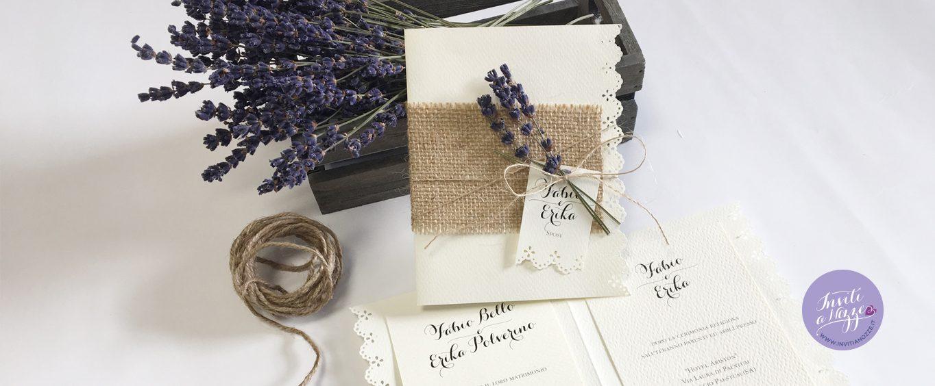 Partecipazioni Matrimonio Lavanda.Partecipazione Matrimonio Juta E Lavanda Inviti A Nozze