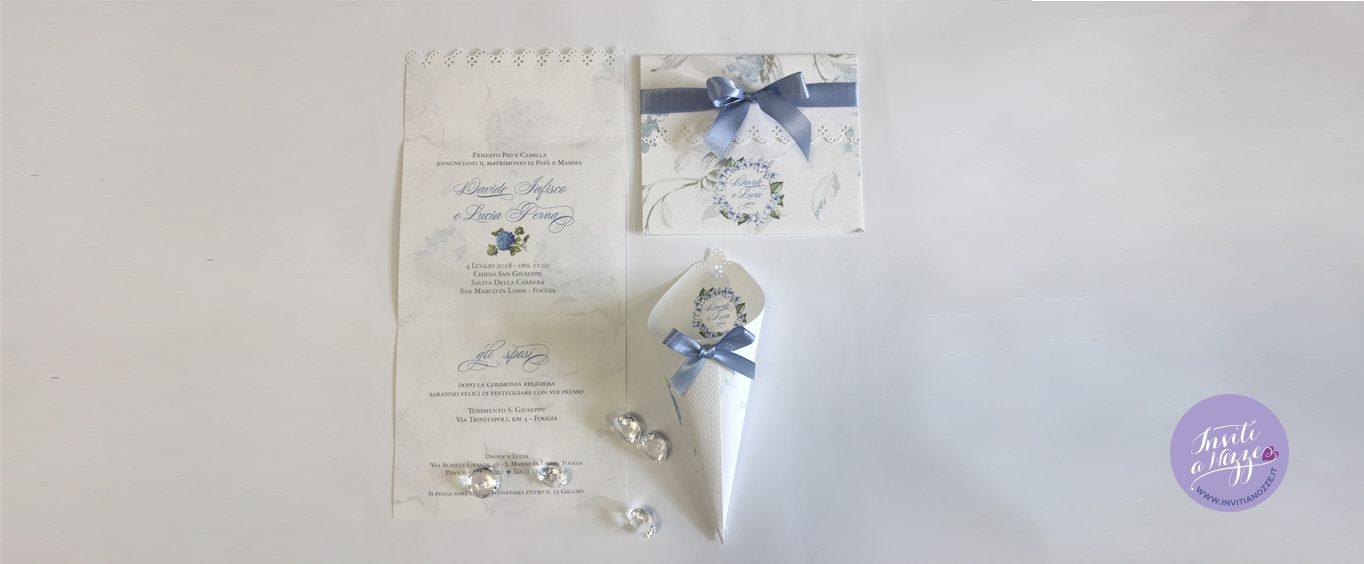 Partecipazione matrimonio ortensie blu