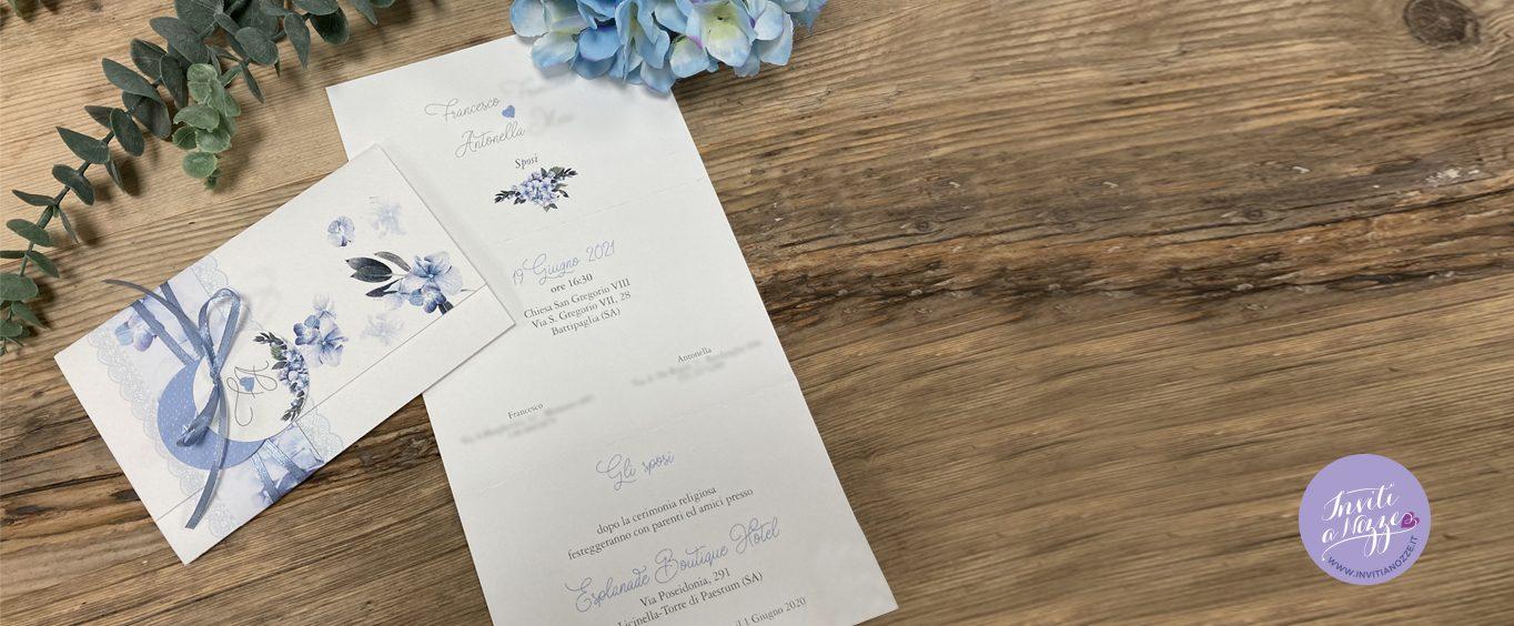 Partecipazione matrimonio pochette ortensie blu