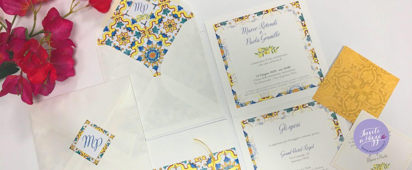 Partecipazione di matrimonio Amalfi mattonella