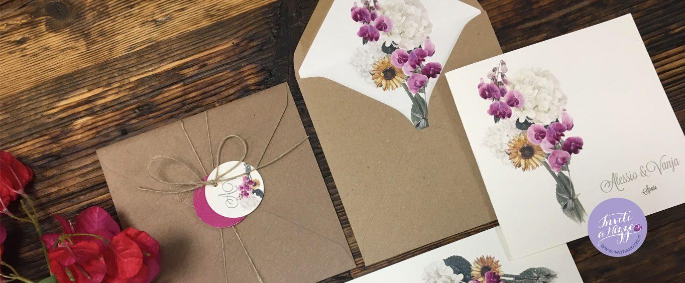 partecipazione orchidee girasoli e ortensie