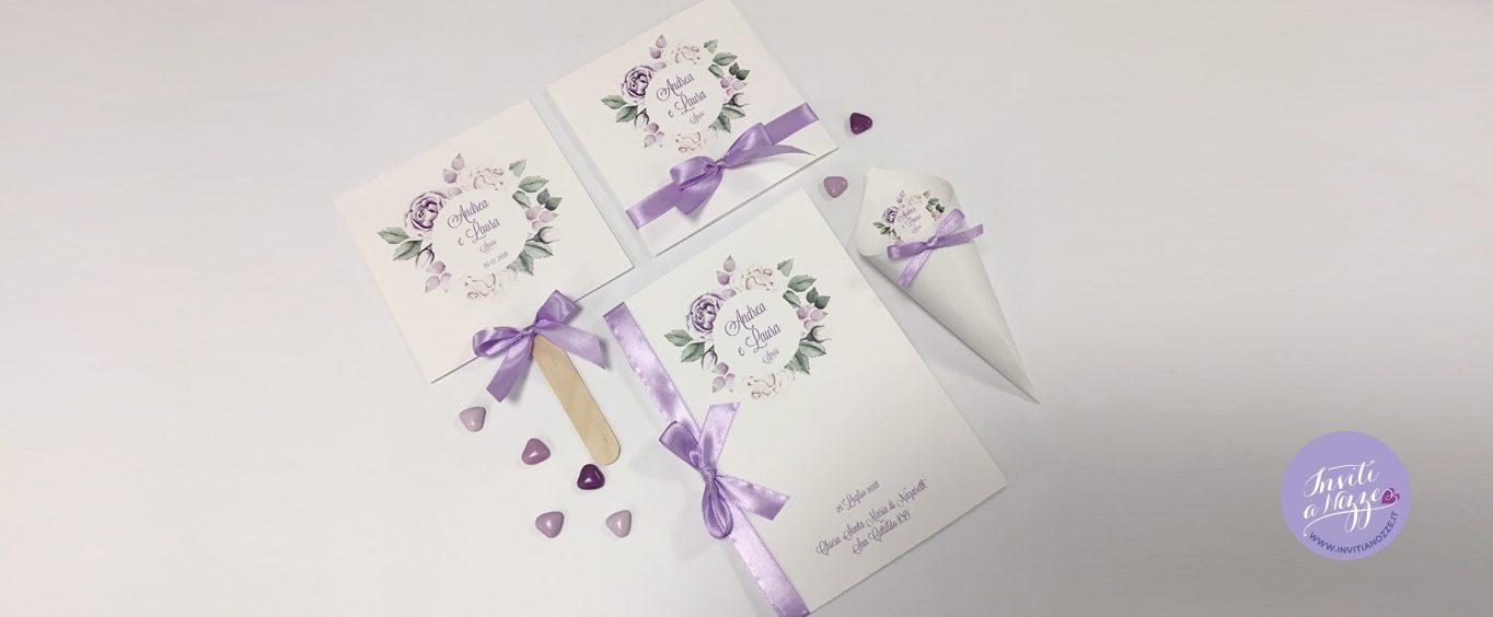 Matrimonio In Lilla : Coordinato matrimonio rose lilla u inviti a nozze