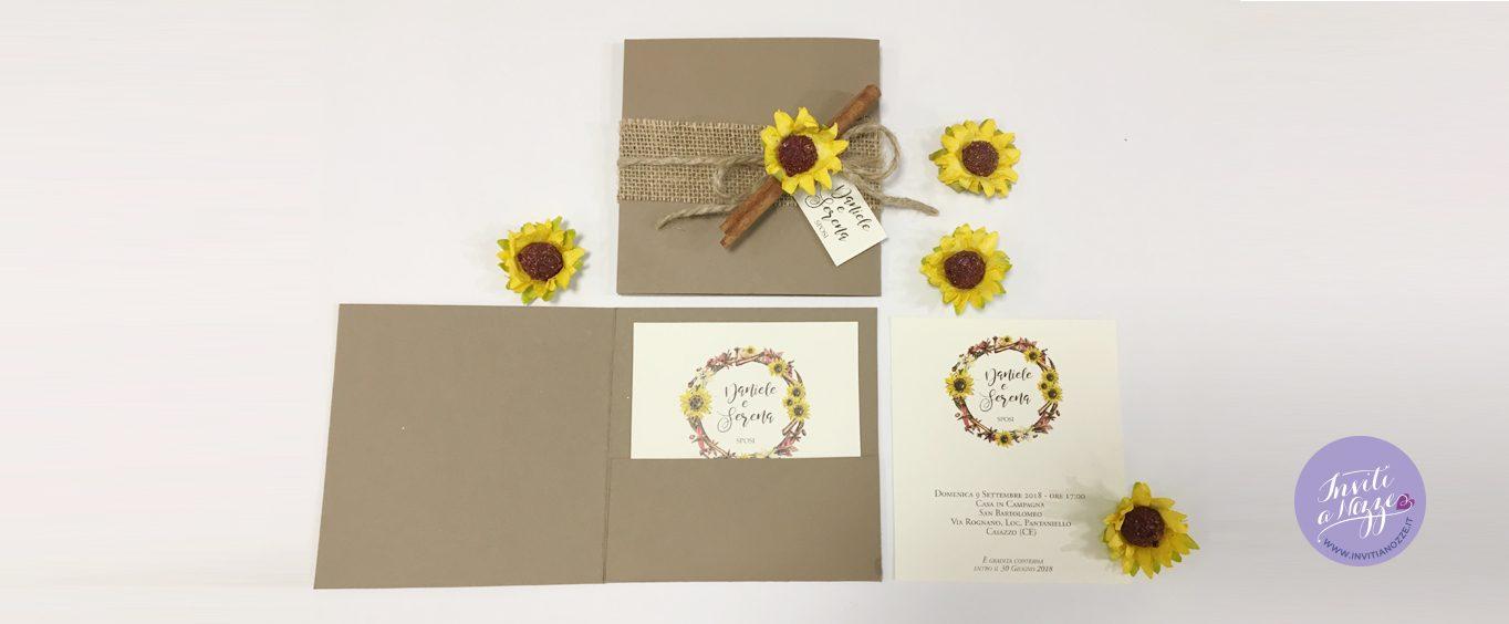 partecipazione  matrimonio spezie e girasole