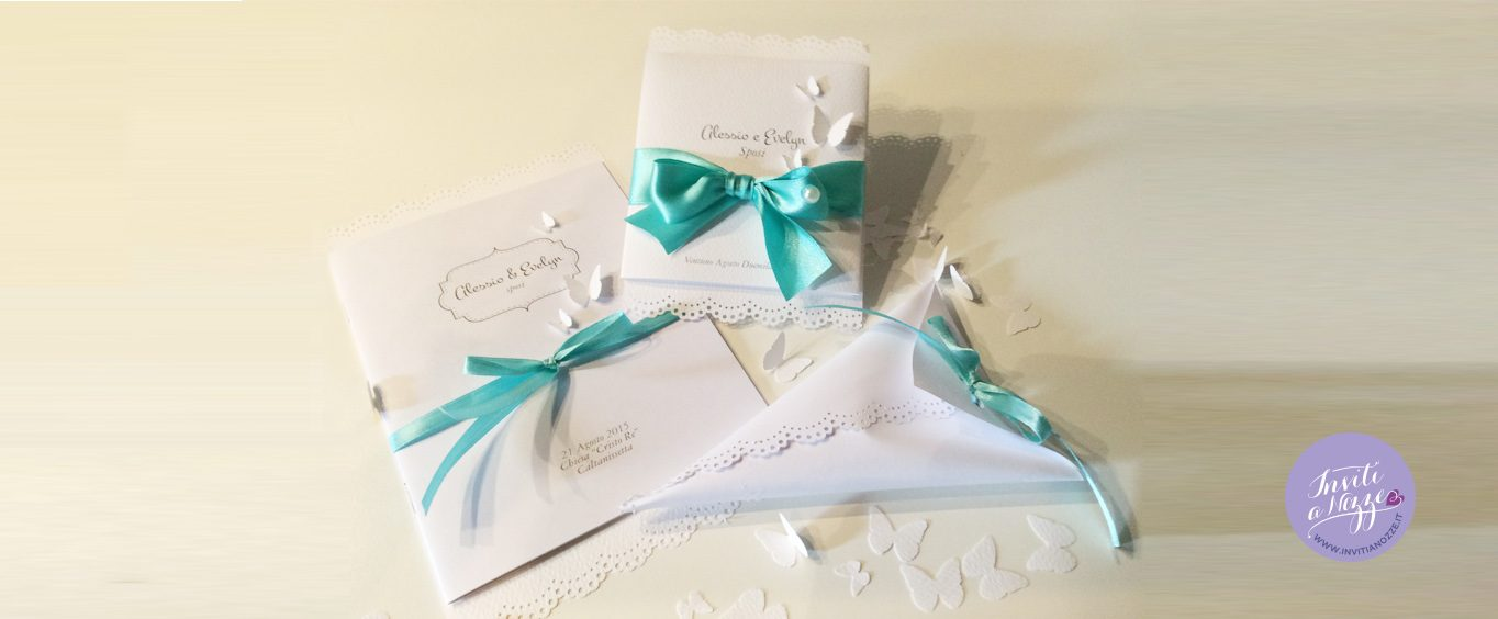 Partecipazioni Matrimonio Color Tiffany.Partecipazione Matrimonio Tiffany Farfalle Inviti A Nozze