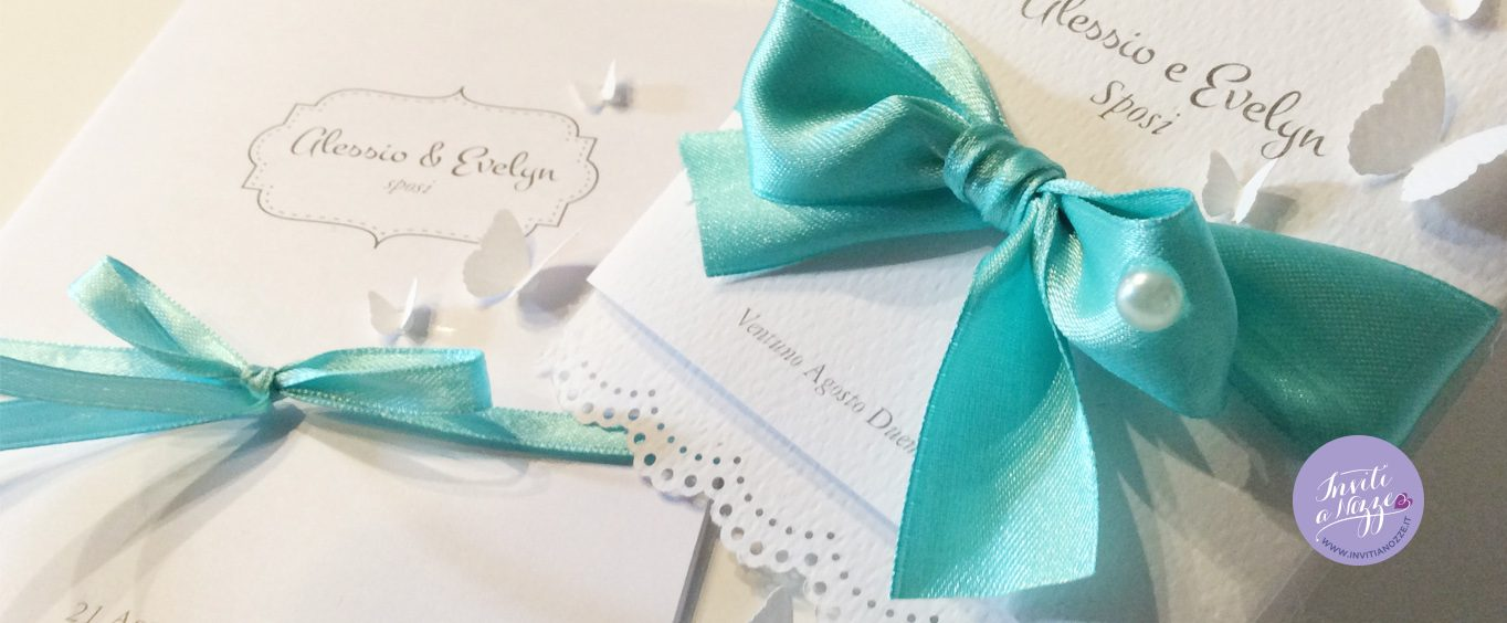 partecipazione matrimonio tiffany farfalle